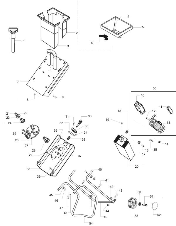Explosionszeichnung AL-KO H�cksler Standart 1500
