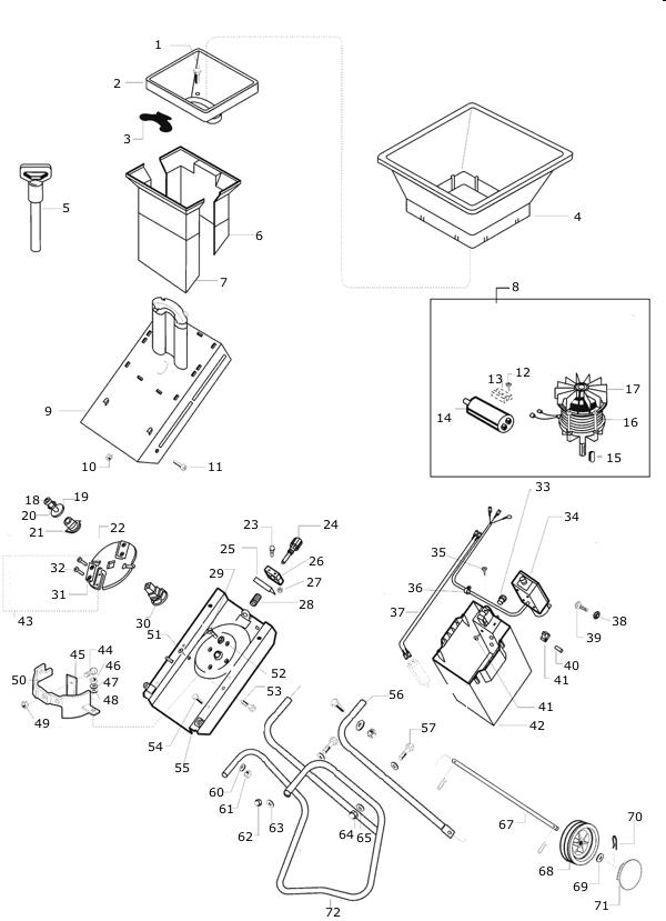 Explosionszeichnung AL-KO Häcksler Standart 1500