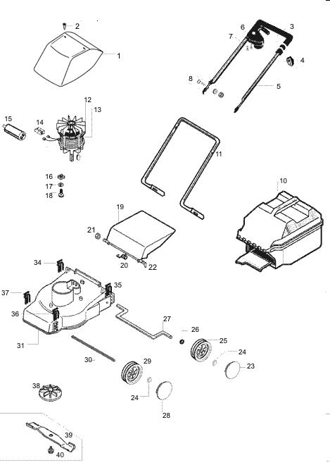 ersatzteile f r den al ko rasaero 32 e art nr 117075. Black Bedroom Furniture Sets. Home Design Ideas