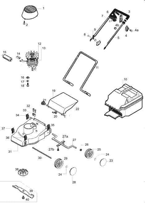 ersatzteile f r den al ko rasaero 32 e art nr 117080. Black Bedroom Furniture Sets. Home Design Ideas