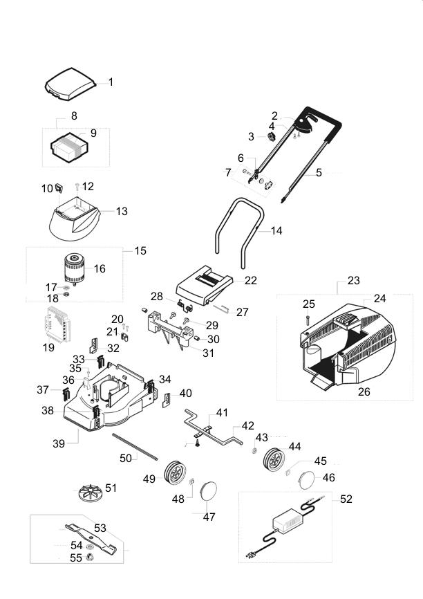 ersatzteile f r den al ko rasaero accu tec 32 art nr 110155 elektrorasenm her al ko. Black Bedroom Furniture Sets. Home Design Ideas