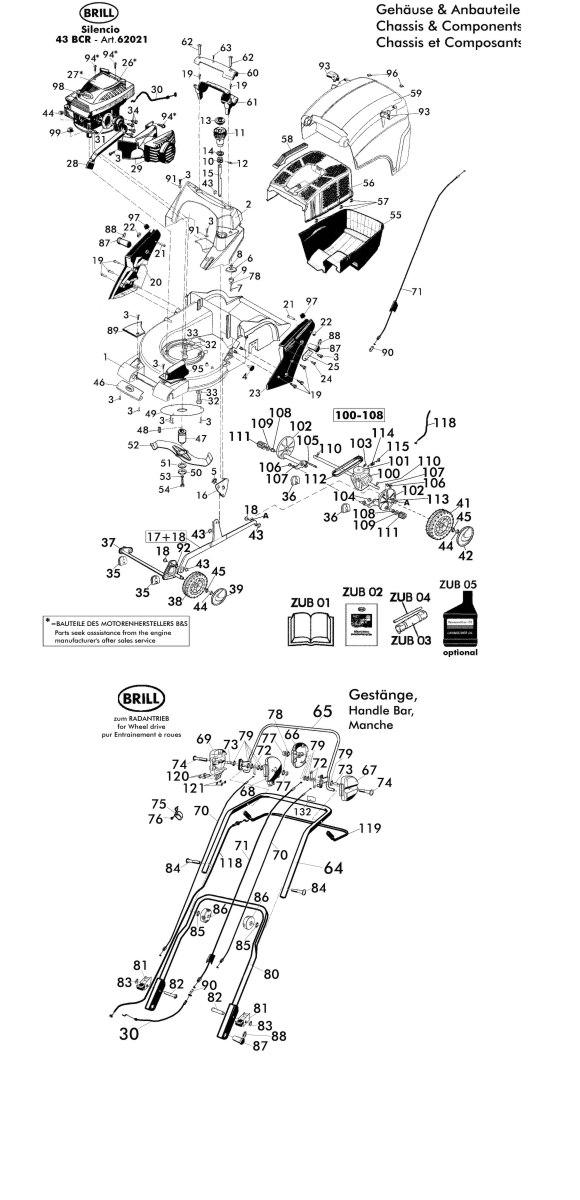ersatzteile f r brill silencio 43 bcr 62021 gartenartikel g nstig online kaufen. Black Bedroom Furniture Sets. Home Design Ideas