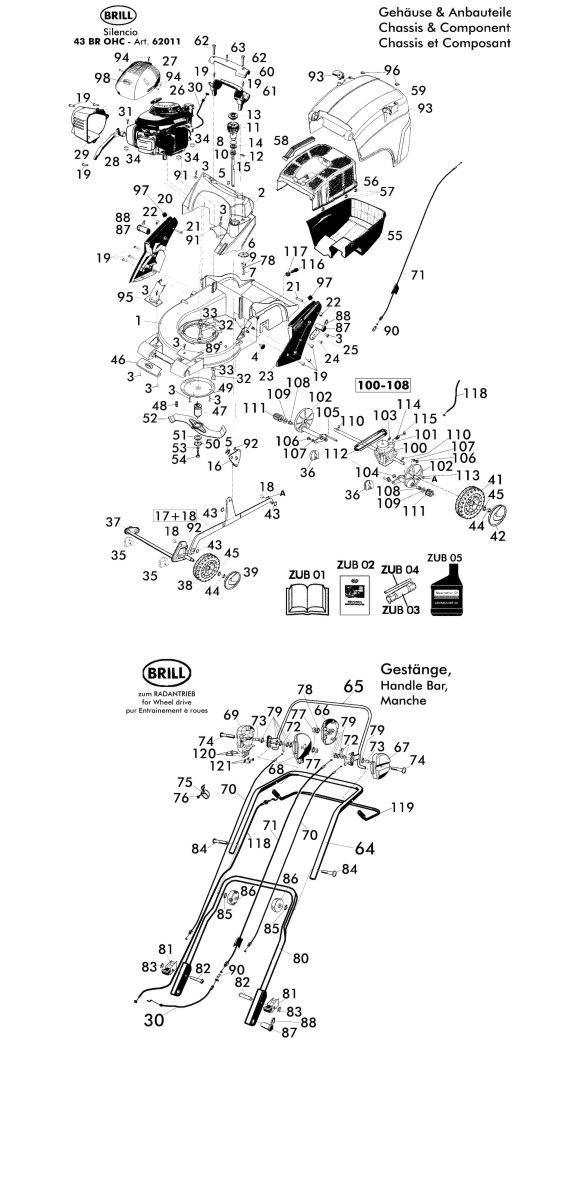 ersatzteile f r brill silencio 43 br ohc 62011 gartenartikel g nstig online. Black Bedroom Furniture Sets. Home Design Ideas